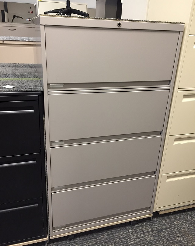 4 Drawer Lateral Filing Cabinet Steelcase Beige 900 Series