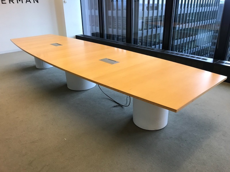 Boat Shape Boardroom Table with White Base and Power..jpg